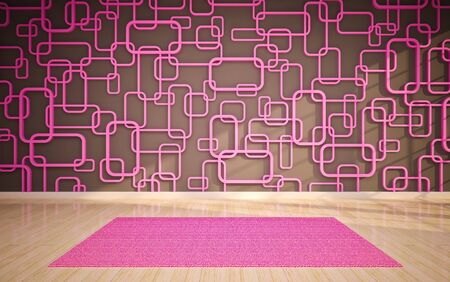 cast in place: Empty interior with pink carpet Stock Photo