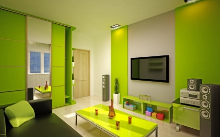 closet door: Modern living roomin bright green shades Stock Photo