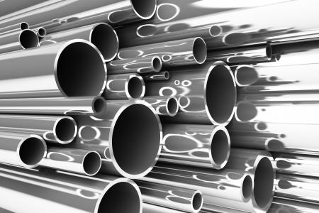 Pila de tubos de acero, tubos de acero inoxidable Foto de archivo - 15938429