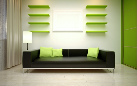 closet door:  modern living room Stock Photo