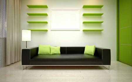 closet door:  modern living room Stock Photo