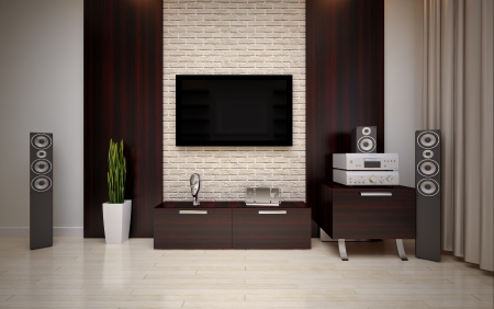 speakers:  modern living room Stock Photo