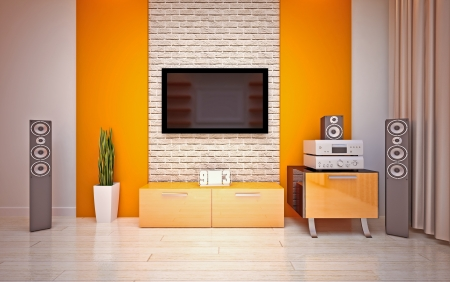 Modern living roomin bright orange shades Foto de archivo