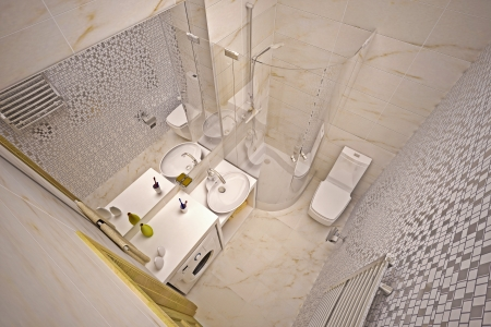 Modern interior of bathroom in house photo