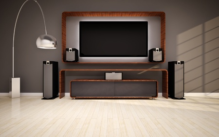 speakers: Modern living room with home cinema