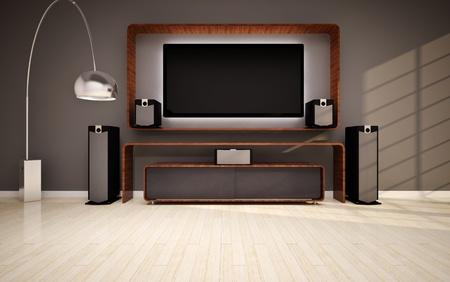 Modern living room with home cinema