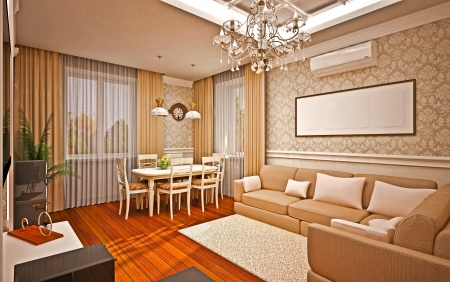 Classical interior of living room photo