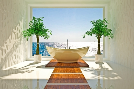Modern interior of bathroom with sea view Stock Photo