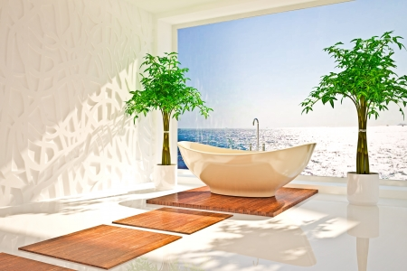 Modern interior of bathroom with sea view Stock Photo - 17577038