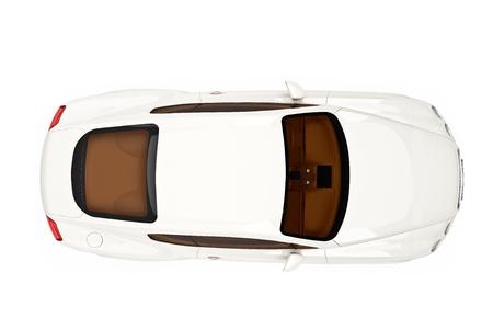 sleeping car: Beige modern car top view Stock Photo