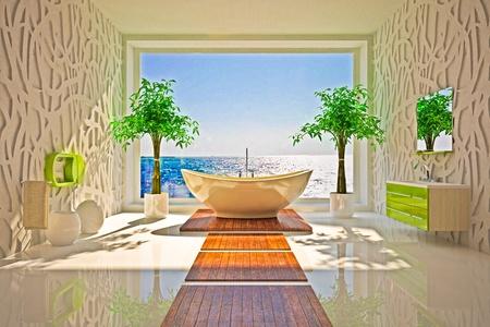 haus beleuchtung: Modernes Interieur der Badezimmer mit Meerblick