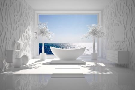 piastrelle bagno: Interiore moderno della stanza da bagno con vista mare BW