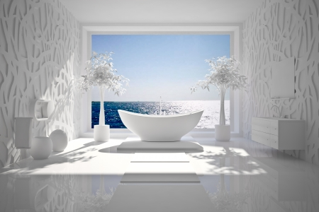 bathroom interior: Modern interior of bathroom with sea view B W