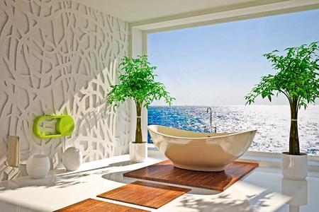 Modern interior of bathroom with sea view Foto de archivo