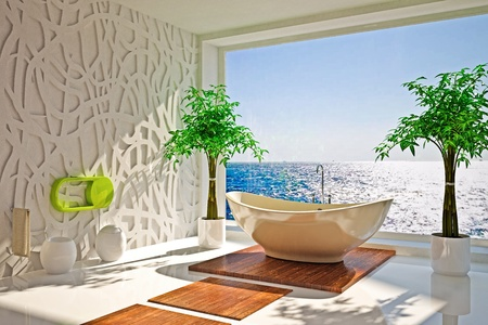 bathroom mirror: Modern interior of bathroom with sea view Stock Photo
