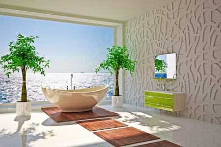 bathroom equipment: Modern interior of bathroom with sea view Stock Photo