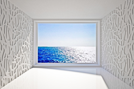 Empty interior with sea view Stock Photo - 17636630