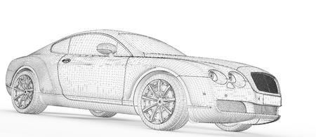 sleeping car: car 3D model body structure   Stock Photo