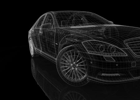 silueta coche: coche modelo 3D del cuerpo estructura