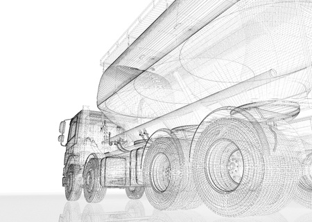 pick up truck:  Cargo cement carrier, body structure Stock Photo