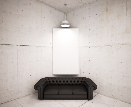banner on wall with black sofa  photo