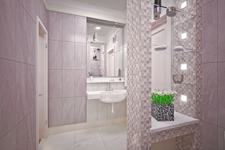 Modern interior  bathroom in house photo
