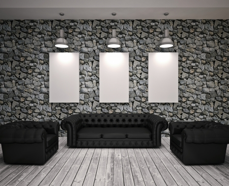 Modern living roomn with black sofa and chairs Stock Photo