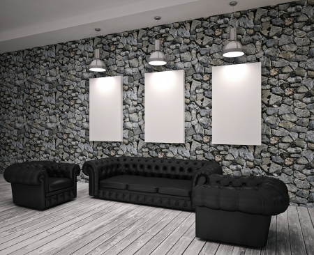Modern living roomn with black sofa and chairs photo
