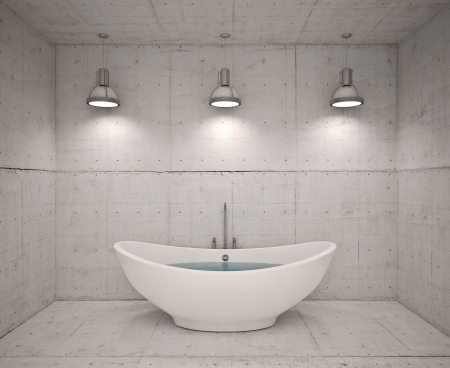 r furniture: Modern interior of bathroom with concret wool