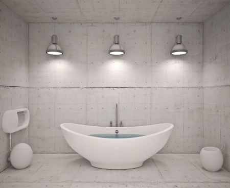 Modern interior of bathroom with concret wool Stock Photo - 19505480