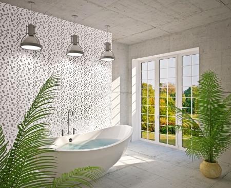 floo: Modern interior  bathroom in house, apartment
