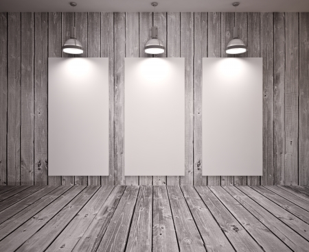Banner on wooden  wall with lamps, modern interior Stock Photo