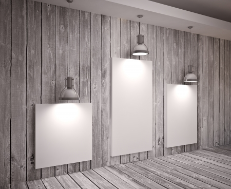 exhibition: Banner on wooden  wall with lamps, modern interior Stock Photo