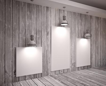 Banner op houten wand met lampen, modern interieur Stockfoto