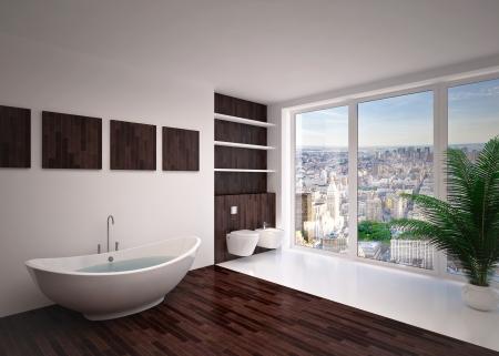 家の中でモダンなインテリアの浴室、アパート