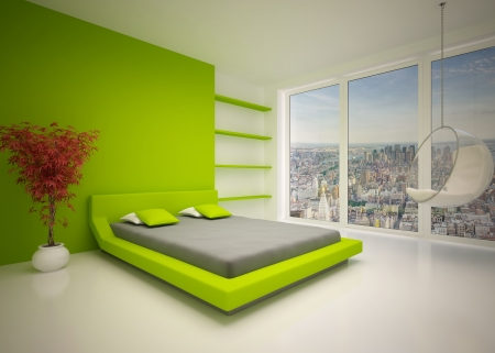 Modern interior of  bedroom photo