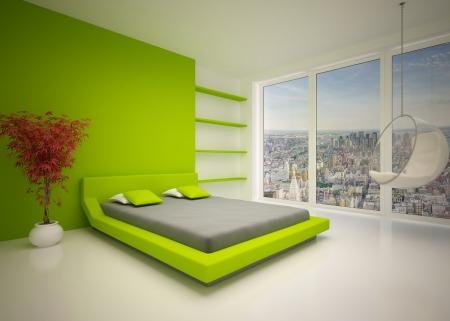Modern interior of  bedroom Stock Photo