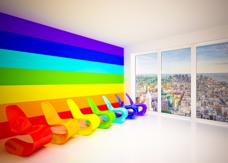 seater: Lounge room in rainbow colors with city view Stock Photo
