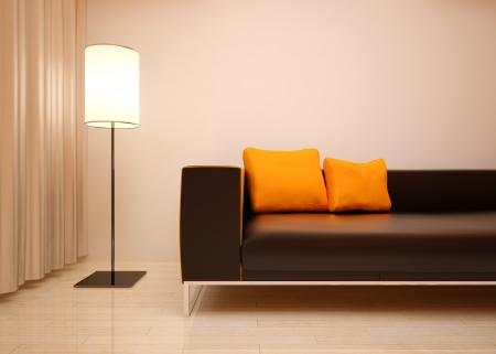 woll: Modern living roomin bright orange shades Stock Photo