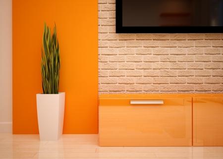モダンなリビングの明るいオレンジ色の色合いを制御 写真素材 - 22016681