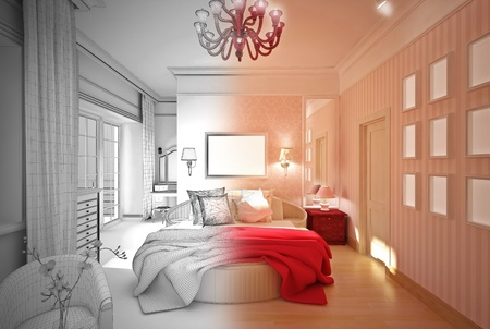 3-D model of the bedroom in pink Stock Photo - 22016683