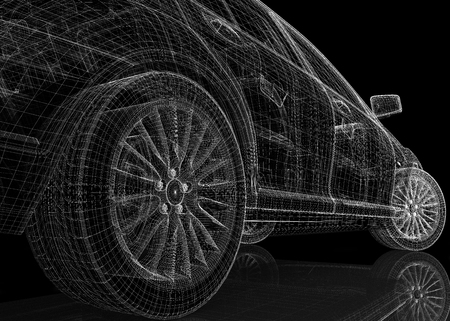 Auto 3D-model carrosseriestructuur Stockfoto