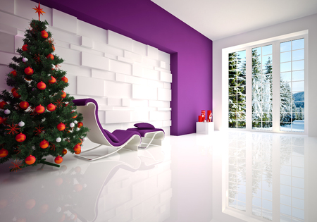 Christmas  Modern lounge   relax room in purple tones Stock Photo - 22349168