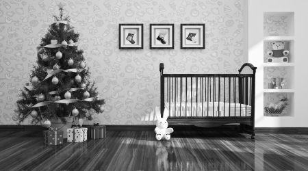 Interior of christams nursery with Christmas tree and gifts photo
