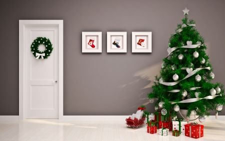 fireplace living room: Christmas interior with door   tree
