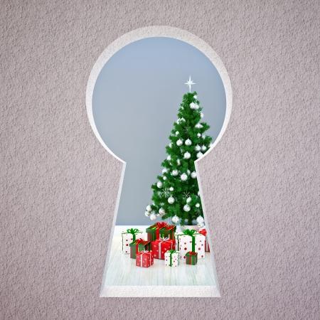 cold room: Christmas keyhole with Christmas tree & gifts