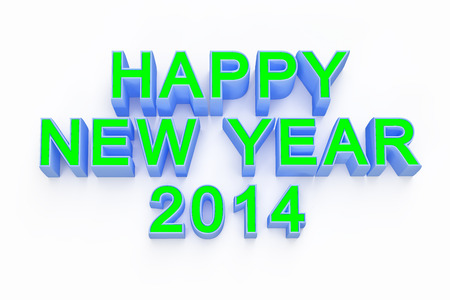 new year 2014 ,3d render text on white background photo