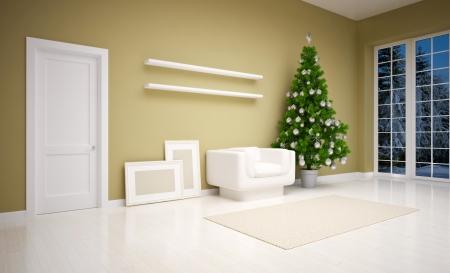 cold room: Christmas interior with  Christmas tree, sofa and gifts