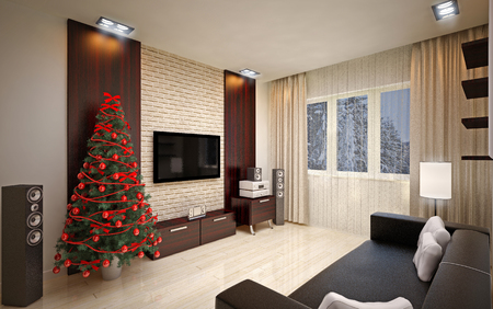 hotel rooms: Christmas interior with  Christmas tree & sofa Stock Photo