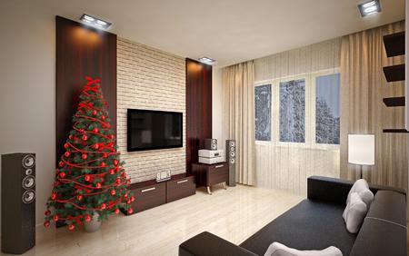 lighting: Christmas interior with  Christmas tree & sofa Stock Photo